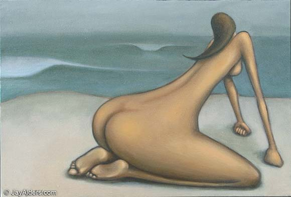 Beach Bum - Figurative nude beach art