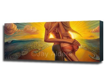 beaming with abundance - sexy romantic art painting of a couple on the beach