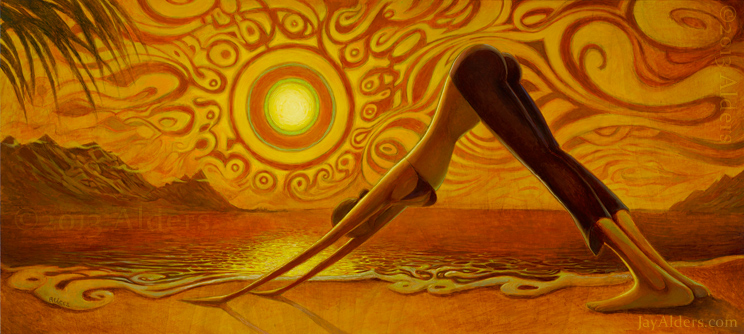 Down to Earth - yoga art painting, downward dog