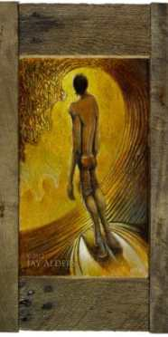 Golden Opportunity Surfer Art in Rustic Distressed Frame
