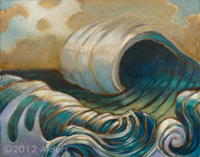 Overnight Swell - ocean waves painting