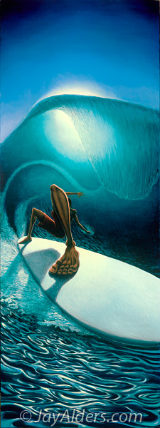 Right Past The Light - layback surf painting by Jay Alders