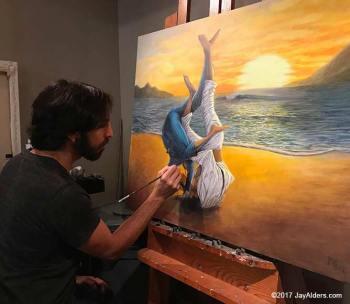 """Artist Jay Alders painting Jiu JItsu painting """"Beach Sweep"""""""