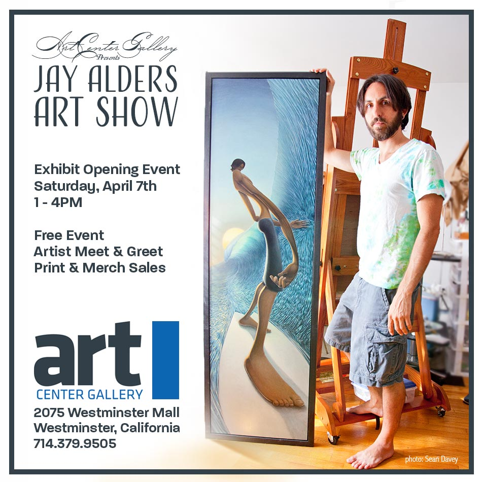 Jay Alders surfer artist Art Show in Orange County California