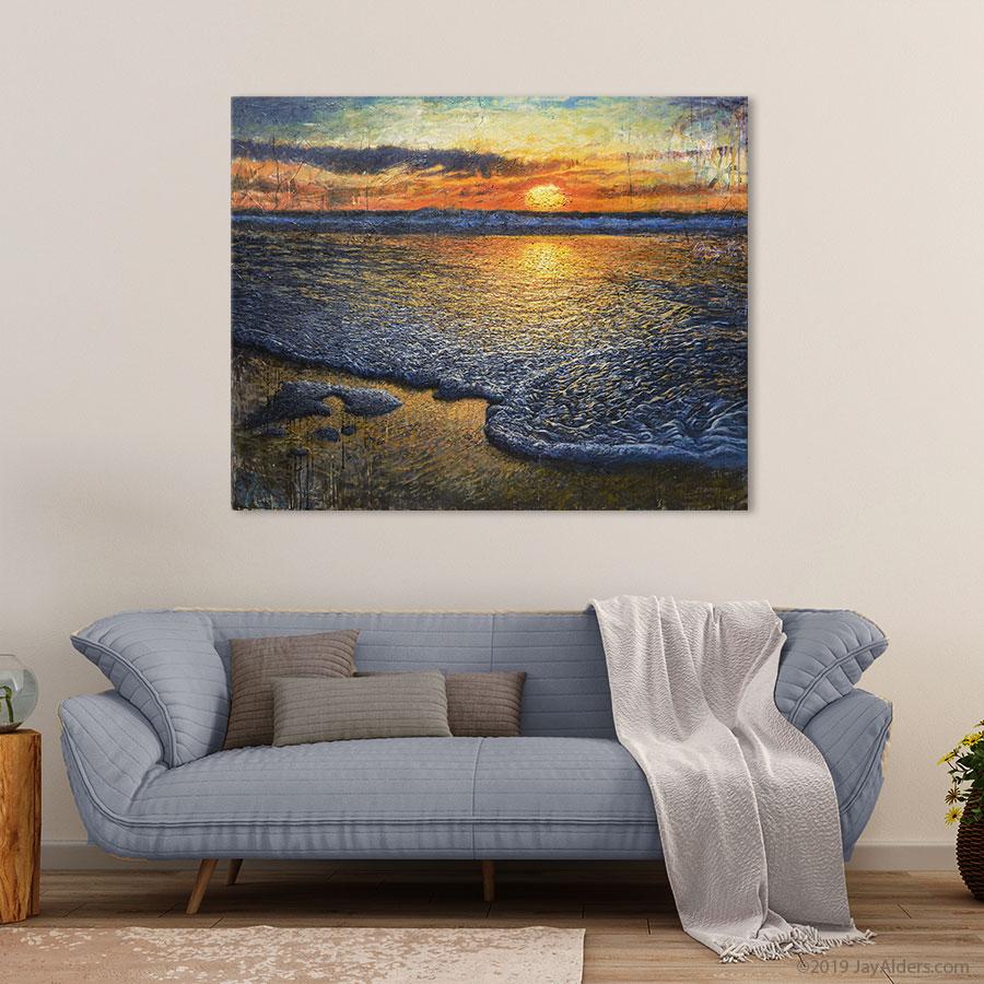 Sea Quell - Beach Sunrise Art Print in Boho Chic Interior