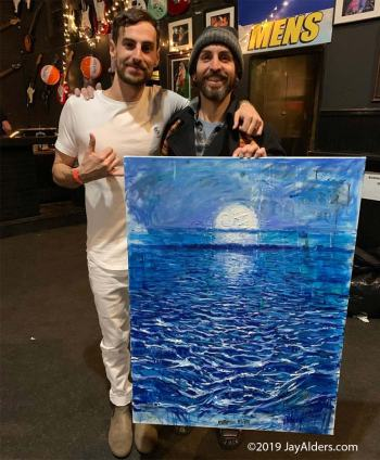 Surf Artist Jay Alders & quincy Mumford at Stone Pony with Sea Prince painting