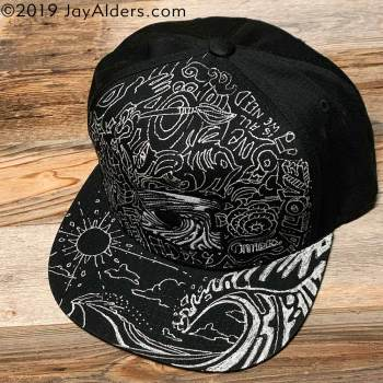 Hand-drawn hat by artist Jay Alders