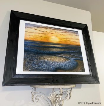 Ripple Effect - Contemporary Beach art print in frame