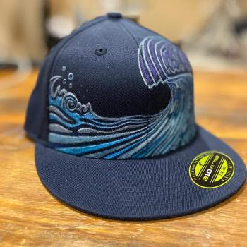 Hand painted fitted flat brim surf themed hat