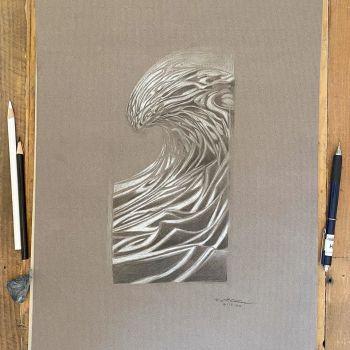Wave 61320 - Original pencil drawing of a big ocean surf wave