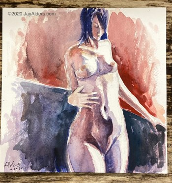 standing female nude watercolor 62320 by alders