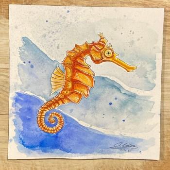 Seahorse modern artwork