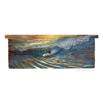 surfer painting on driftwood