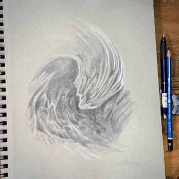 Pencil drawing of a big ocean wave