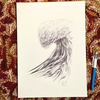 Wave 81720 - Ballpoint pen ocean drawing