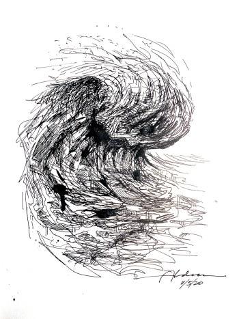 modern ocean wave ink drawing by artist Jay Alders