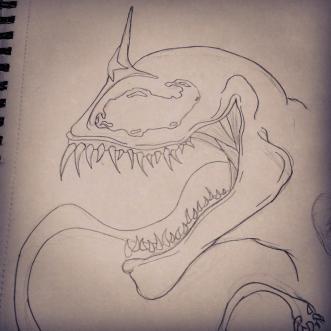 Sketch of Wonder Venom if I go with a traditional Venom style.