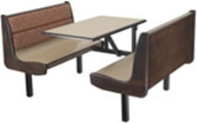 Waymar offers Upholstered backs with their Laminate Seating as well as Wood Trim Options!!