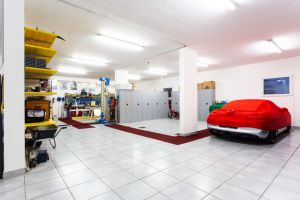 Garage with luxury sports cars.