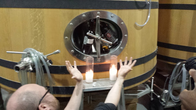 Nathan venerating Russian River, De Garde, and Alu on his foeder