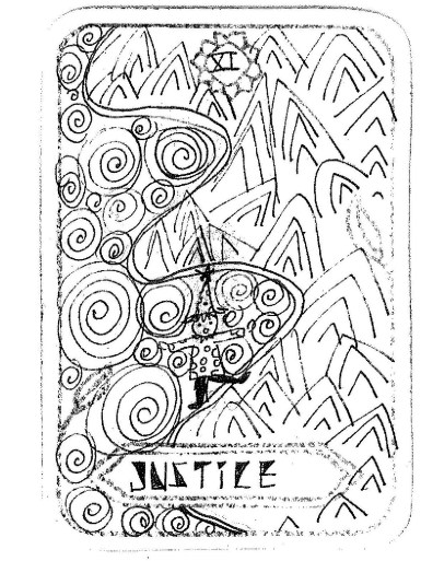 "Justice, by Seulki Lee Inspired by 'Justice' ""My tarot card is 'Justice' and it means to me, I don't know my way is right or wrong. But I try to be balance and keeping my journey (trip) of my life."""