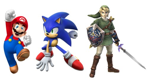 Mario (Super Mario Bros.), Sonic (Sonic the Hedgehog) and Link (The Legend of Zelda)
