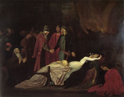 """The Reconciliation of the Montagues and Capulets over the Dead Bodies of Romeo and Juliet"", 1855, oil on canvas painting by Frederic Leighton"