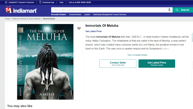 Meluha Novel on Indiamart