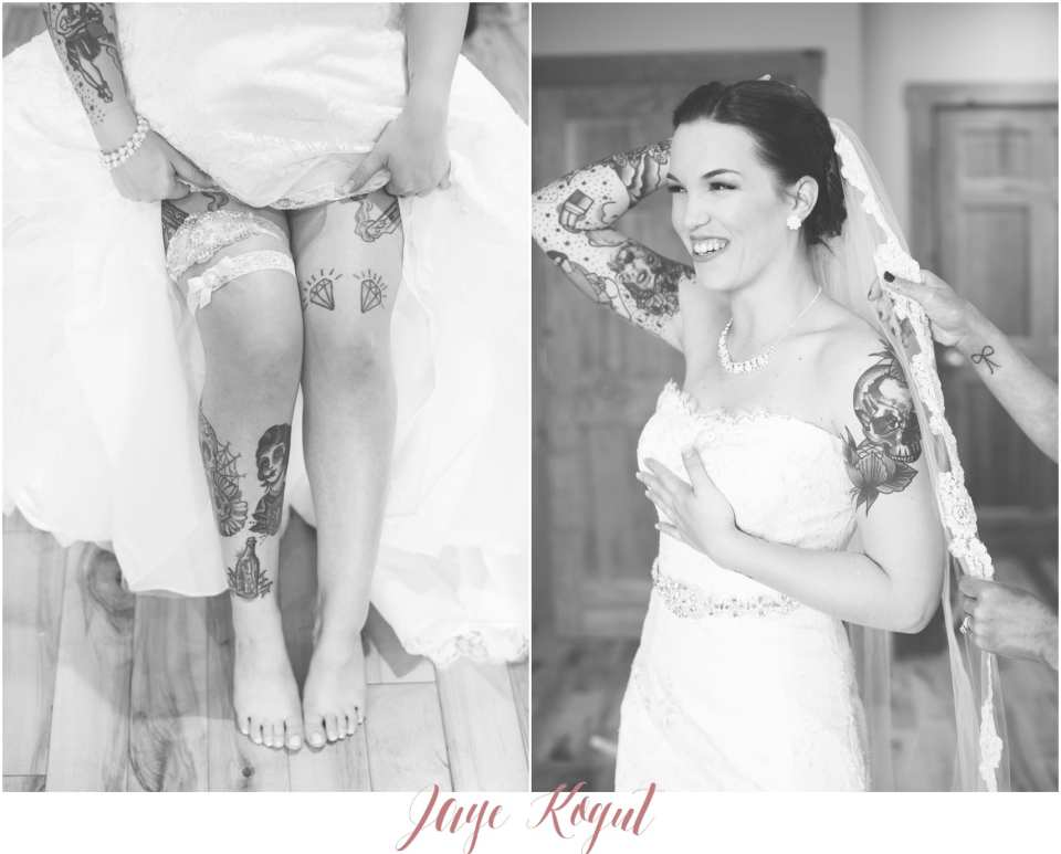 Allure bridals wedding gowns, tattooed brides, NJ wedding photographer