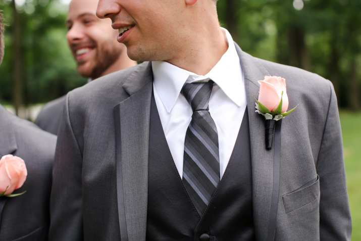 gray groomsmen outfits