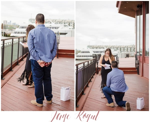 NYC skyline proposal, Chart House restaurant engagement photos