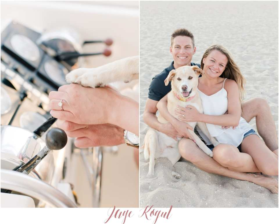 dog in engagement photos, bride groom and dog, engagement ring with grooms hand and dog paw photo, engagement sessions on a boat