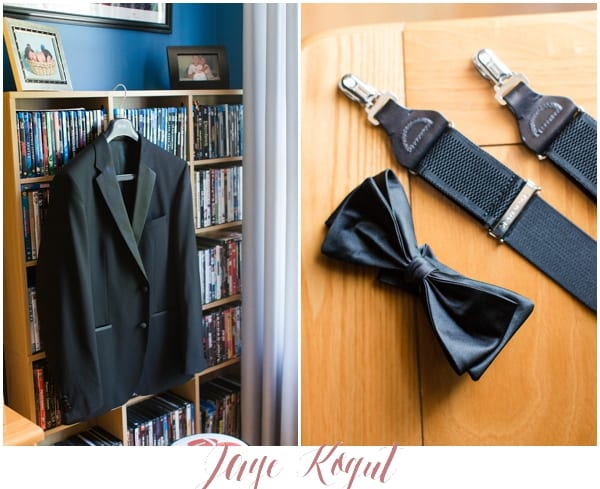 black tux jacket on bookshelf, bowtie and suspenders, groom details at getting ready