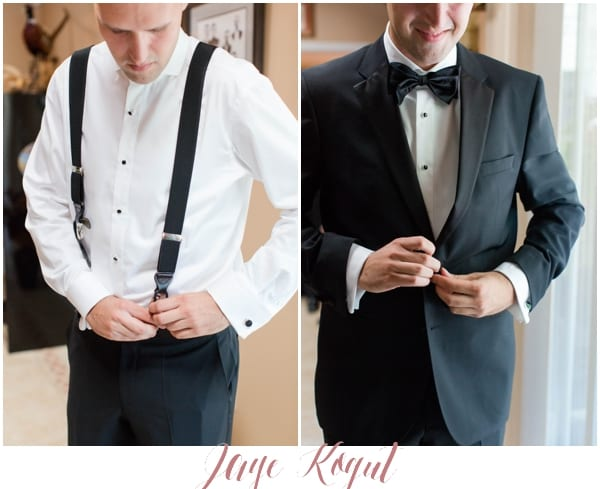 groom dressing suspenders