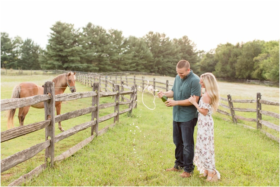 New Jersey horse farm engagement photos, champagne pop photos, engagement photos with champagne