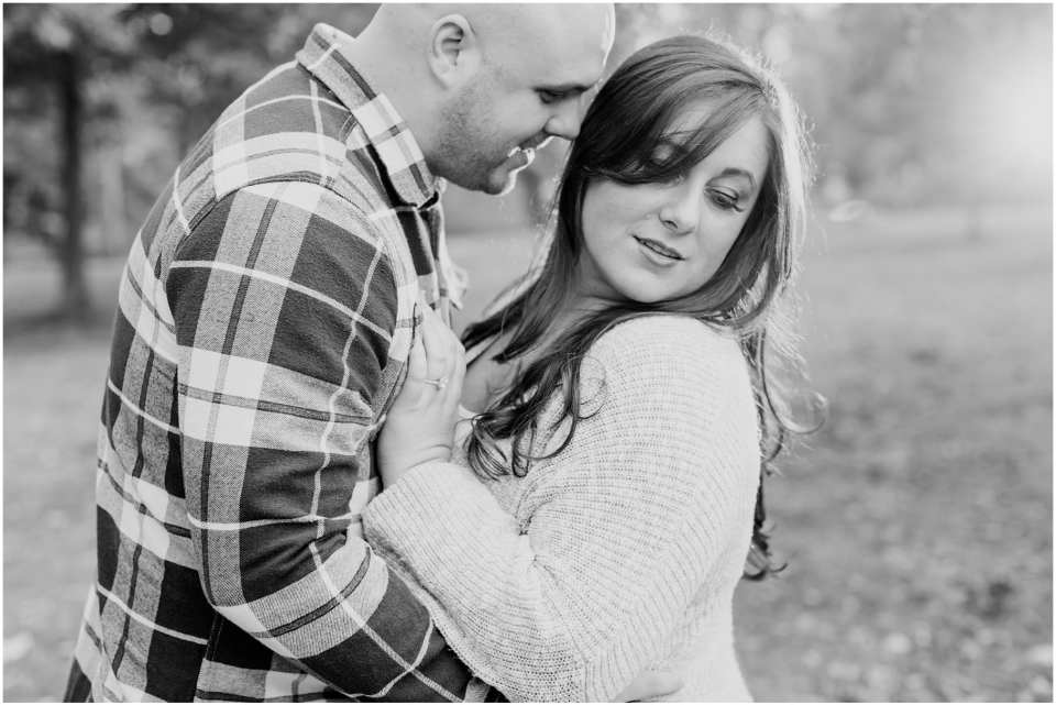 black and white engagement photos, cozy fall engagements in New Jersey