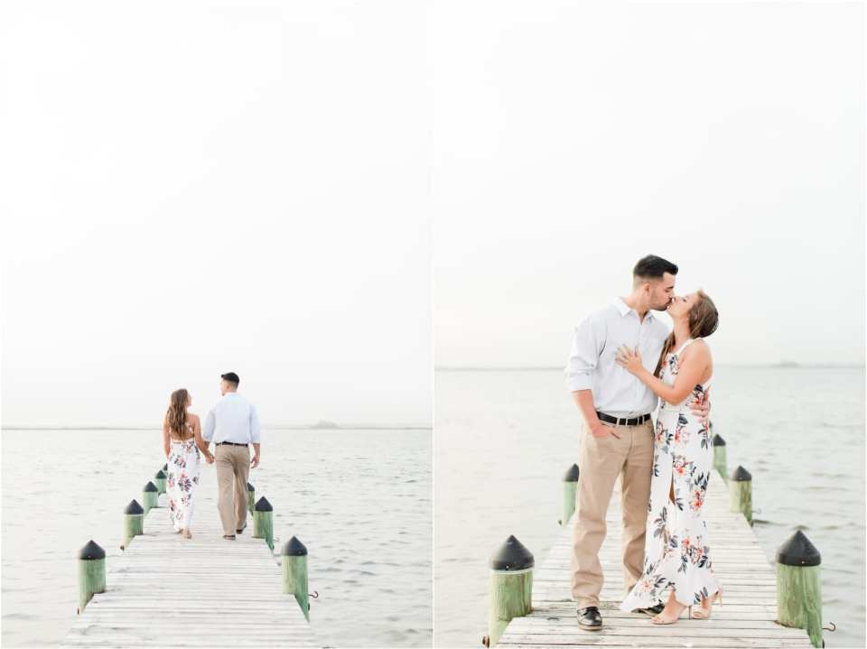 minimalist engagement photos, Jersey shore bay engagement