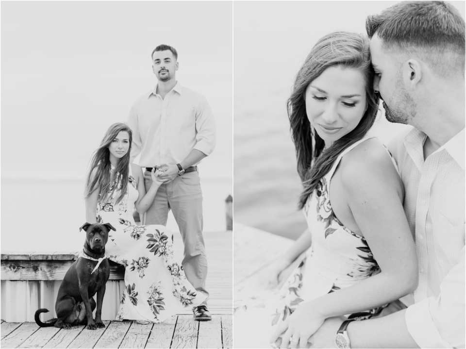black and white engagement photos, engagement photos with your dog in NJ, NJ photographers