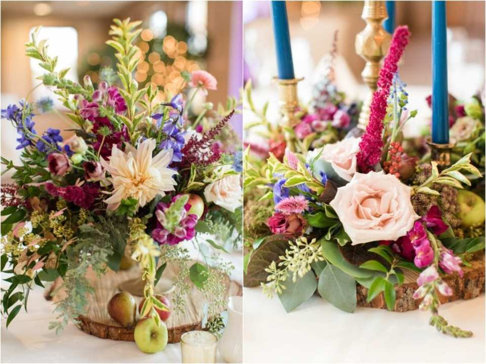 exotic wedding floral arrangements, jewel toned wedding ideas, tapered candles, Chester Valley Golf Club Wedding