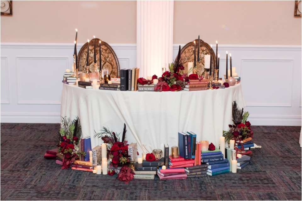 buona sera palazzo wedding, library and book themed wedding