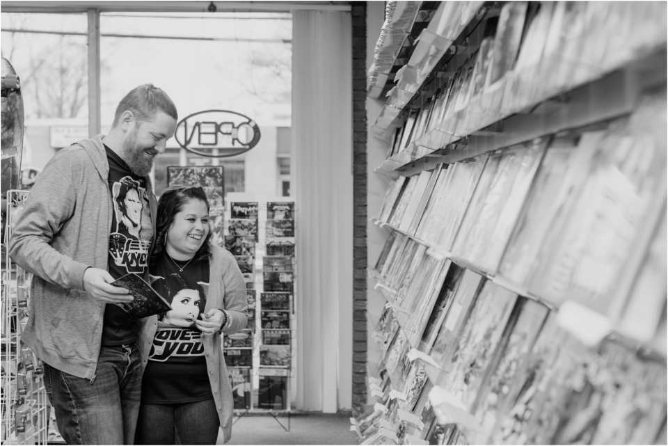 Joker's child comic books, comic book store engagement photos