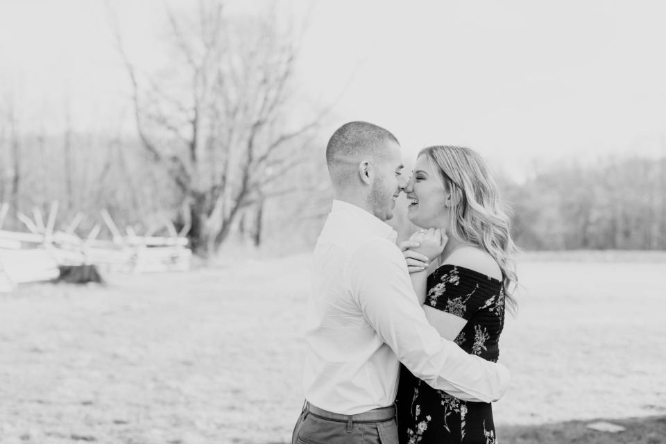 spring engagement photo ideas, New Jersey photography, black and white engagement photos