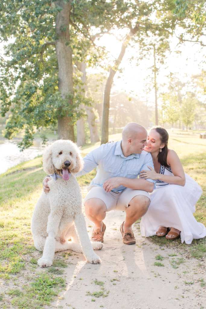 Devine park engagement photos, engagement photos with dogs, pet engagement photos