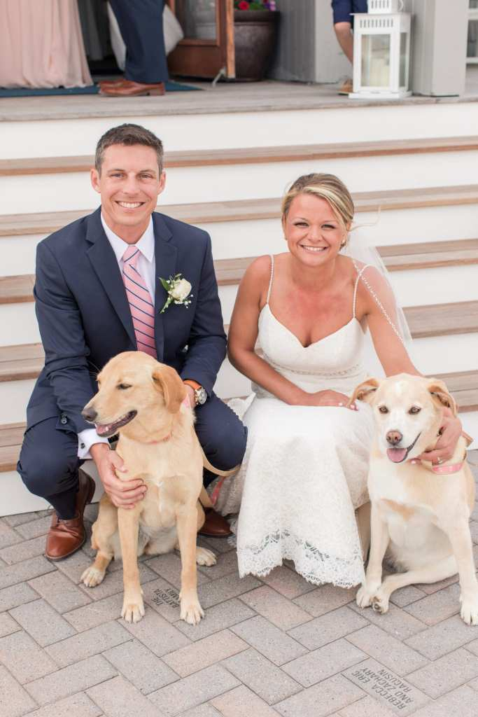 pets in wedding, wedding with dogs, Brant Beach Yacht Club