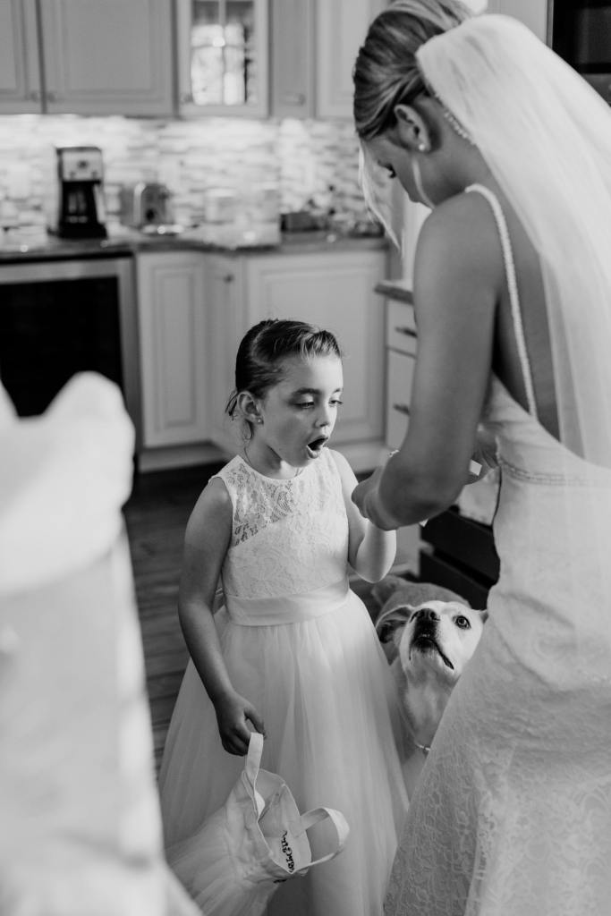 flower girl candid photo, black and white photo, New Jersey wedding photographer