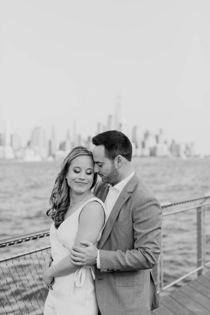 nyc skyline engagement photo, nj wedding photographer, black and white photo