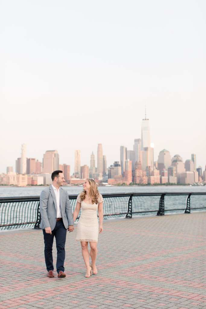 hoboken engagement shoot, nyc skyline engagement shoot, nj wedding photographer, castle couture