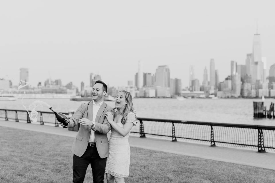 Hoboken Engagement Shoot, Champagne Popping Photo, NJ wedding photographer, black and white photo