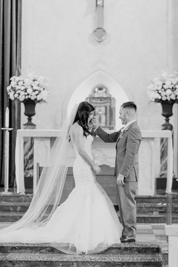classic bride and groom ceremony photo, black and white photo
