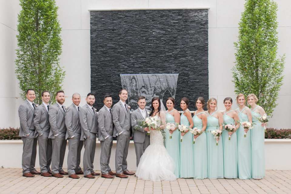 classic wedding party photo, grey and mint wedding party photo